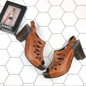 Dansko Leather Stud Rowena Sandal Wooden Clogs.